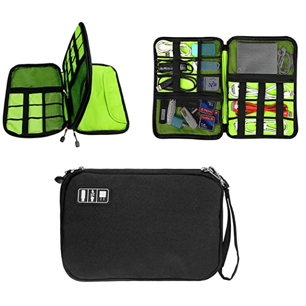 fab98e71564c ... Double Layer USB Cable Hard Drive Case Electronics Accessory Organizer  iPad Tablet Cellphone Cord Shuttle SD  GUANHE Universal ...