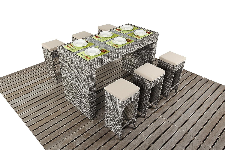 Dallas Rustic Garden Möbel Esstisch für 6Personen Bar Set