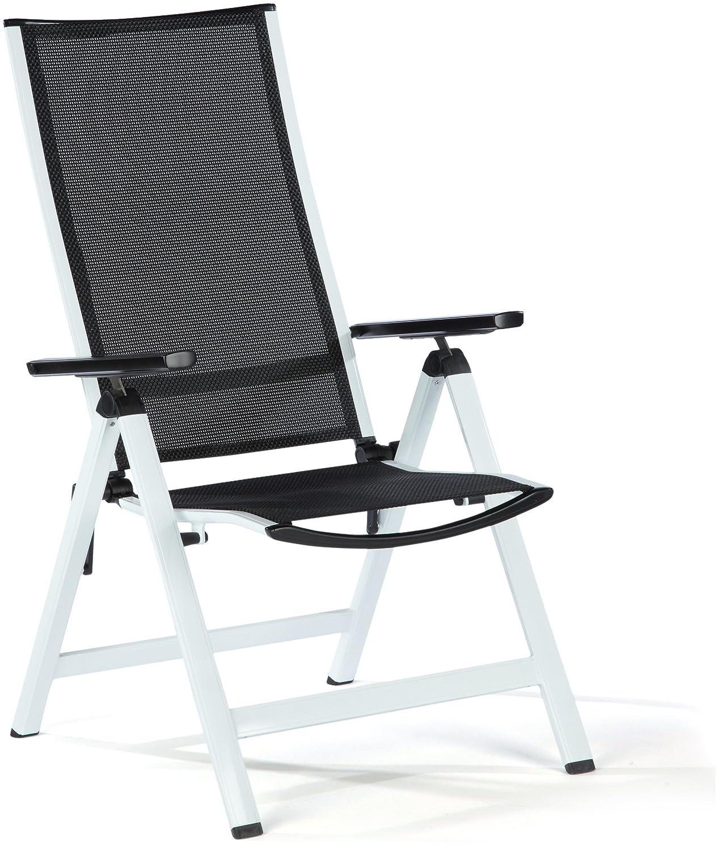 Greemotion 414602 Klappsessel Calidad Aluminium, kunststoffummanteltes Polyestergewebe, der weiße Rahmen steht im Kontrast mit dem schwarzen Gewebe 61 x 66 x 113 cm, schwarz-weiß online bestellen