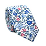 DAZI Men's Skinny Tie Floral Print Cotton Necktie, Great for Weddings, Groom, Groomsmen, Missions, Dances, Gifts. (Spring Bloom)