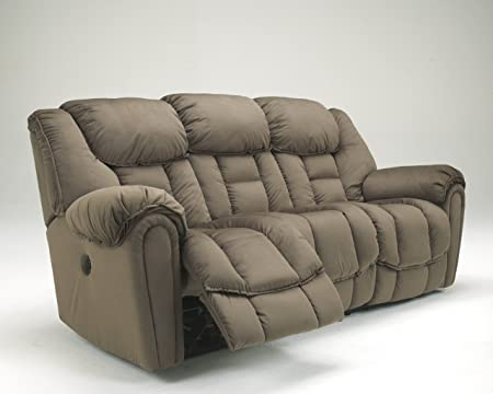 Brasher Contemporary Style Mocha Finish Plush Fabric Upholstered Reclining Sofa
