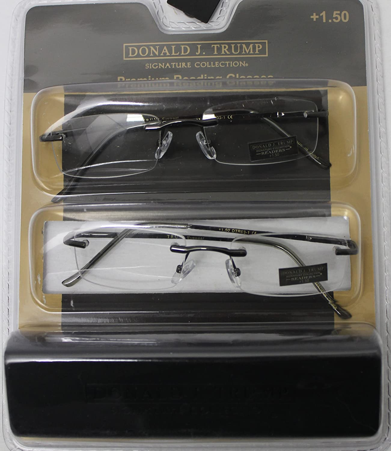 Donald Trump Readers Two Pack Rectangle Rimless Gunmetal, Eyewear Power +1.50