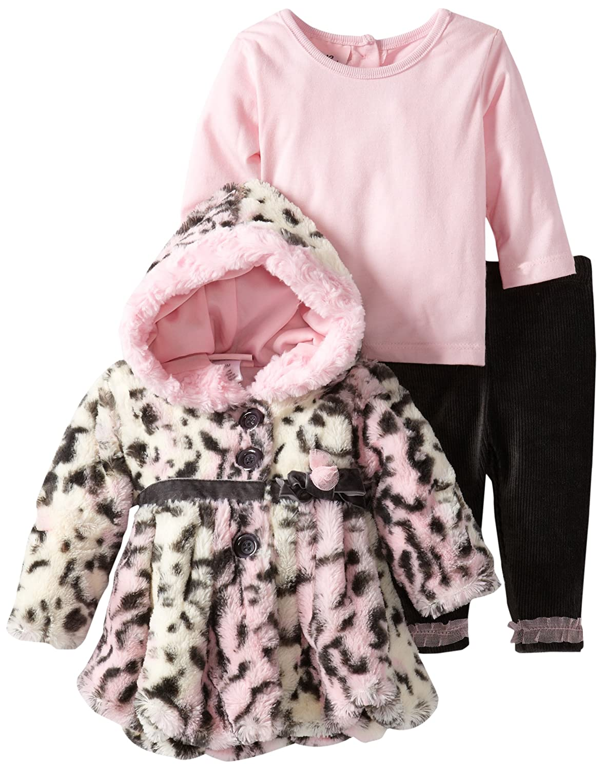 Little Lass Baby-Girls Newborn 3 Piece Hooded Animal Printed Faux Fur Jacket Set
