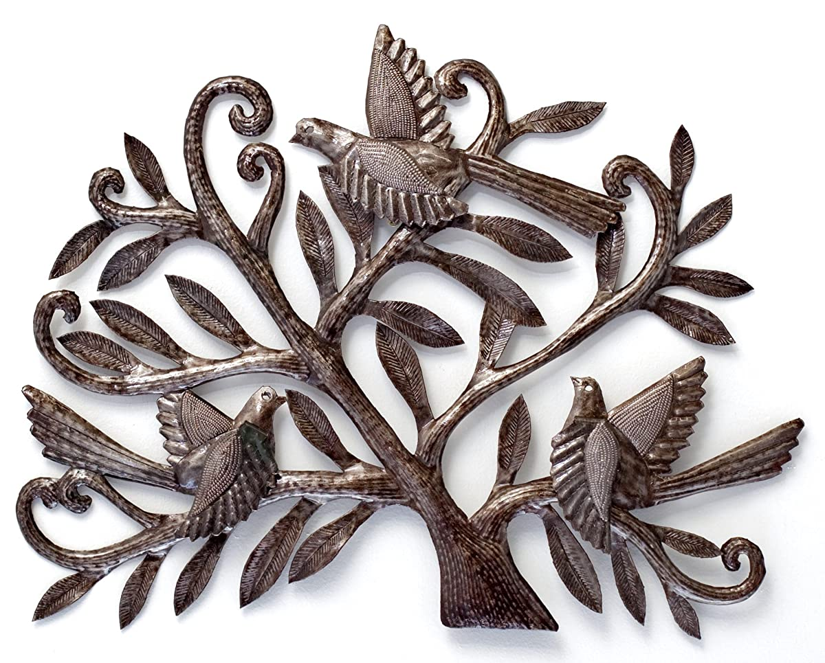 "Nesting Birds, Haitian Metal Art, Tree of life, Recycled Oil Drum 19.5"" x 15"""