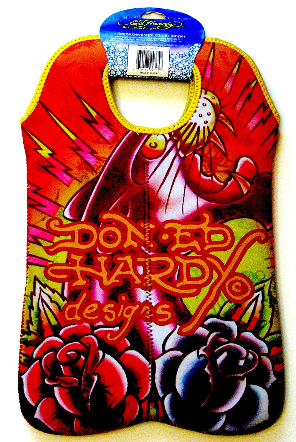 Ed Hardy Designs By Christian Audigier Neoprene Two-Bottle Wine Beverage Tote (Tattoo Black Panther)