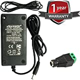 VENTECH 60 Watt (5 Amp) 12 Volt DC LED Light Strip Power Supply 110V AC to 12V DC Transformer - Driver for LED Tape Light and Other Low Voltage Devices (Security Systems, and More)