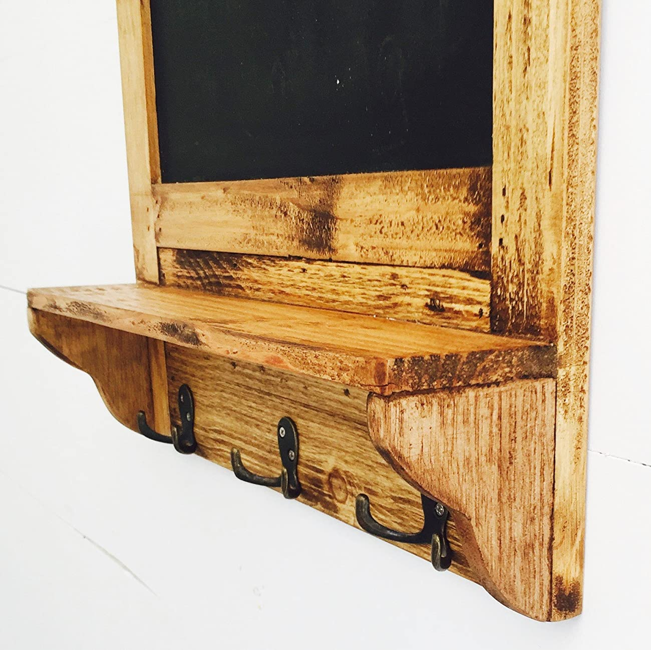 The Stockbridge Chalkboard with Shelf and Coat Hooks, Rustic Pine, Natural Color Wood with Vintage Style Distressed Finish, Brass Hardware, 3 7/8 D x 17 ¾ W x 28 ¼ H Inches, By Whole House Worlds 5