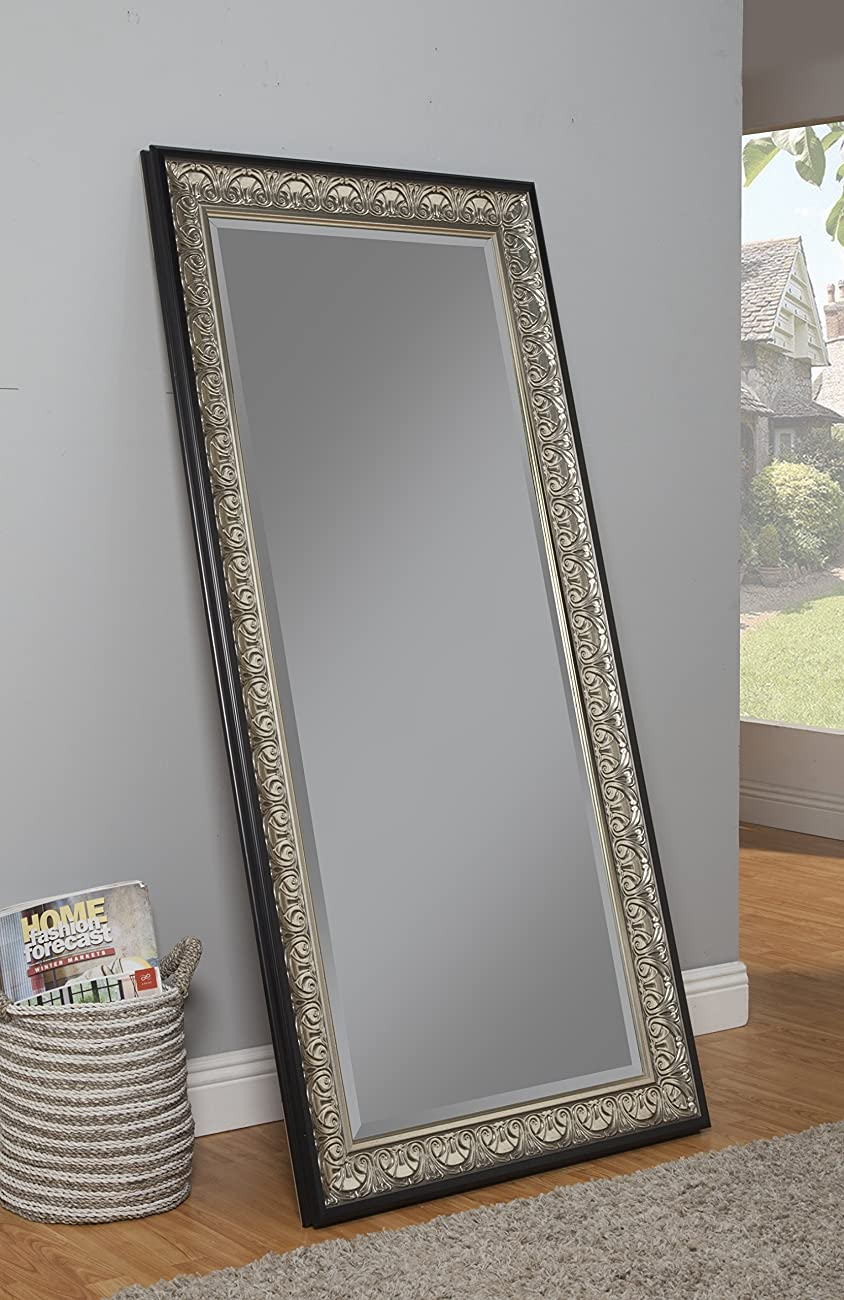 Sandberg Furniture 16011 Full Length Leaner Mirror Frame, Antique Silver/Black 2