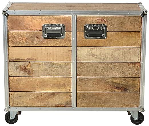"""Sit-Möbel 2209-01 cómoda """"los plomos"""", mango de madera sin tratar, de color aluminio formación en goma ruedas, 2 puertas de madera, 2 estantes, 100 x 40 x 85 cm"""