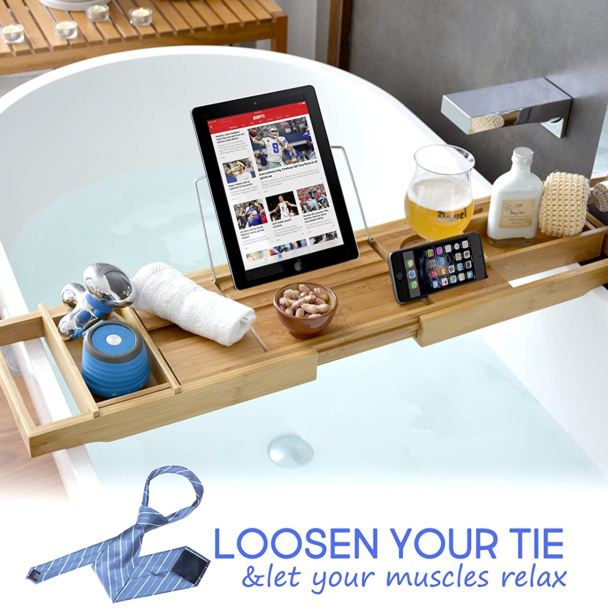 ELITE CREATIONS Bathtub Caddy & Laptop Bed Desk – 2 In 1 Innovative Design Transforms Our 100% Bamboo Bathtub Tray To Bed Tray – For The Ultimate Pampering Experience