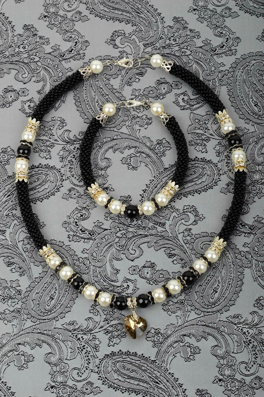 Handmade Schmuck Set aus Glasperlen Collier Halskette Damen Armband modisch günstig kaufen