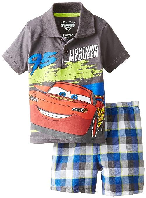 Disney Little Boys' Cars Boy Polo Woven Plaid Short Set- Gray
