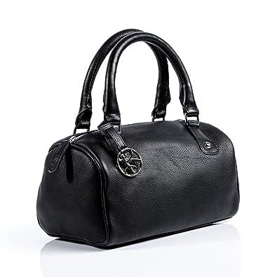 cf32506009 BACCINI sac à main CLEO - style tote bag - sacoche noir en cuir véritable  (27 x 15 x 15 cm) - petit: $ Affordable - cvbnbvghj