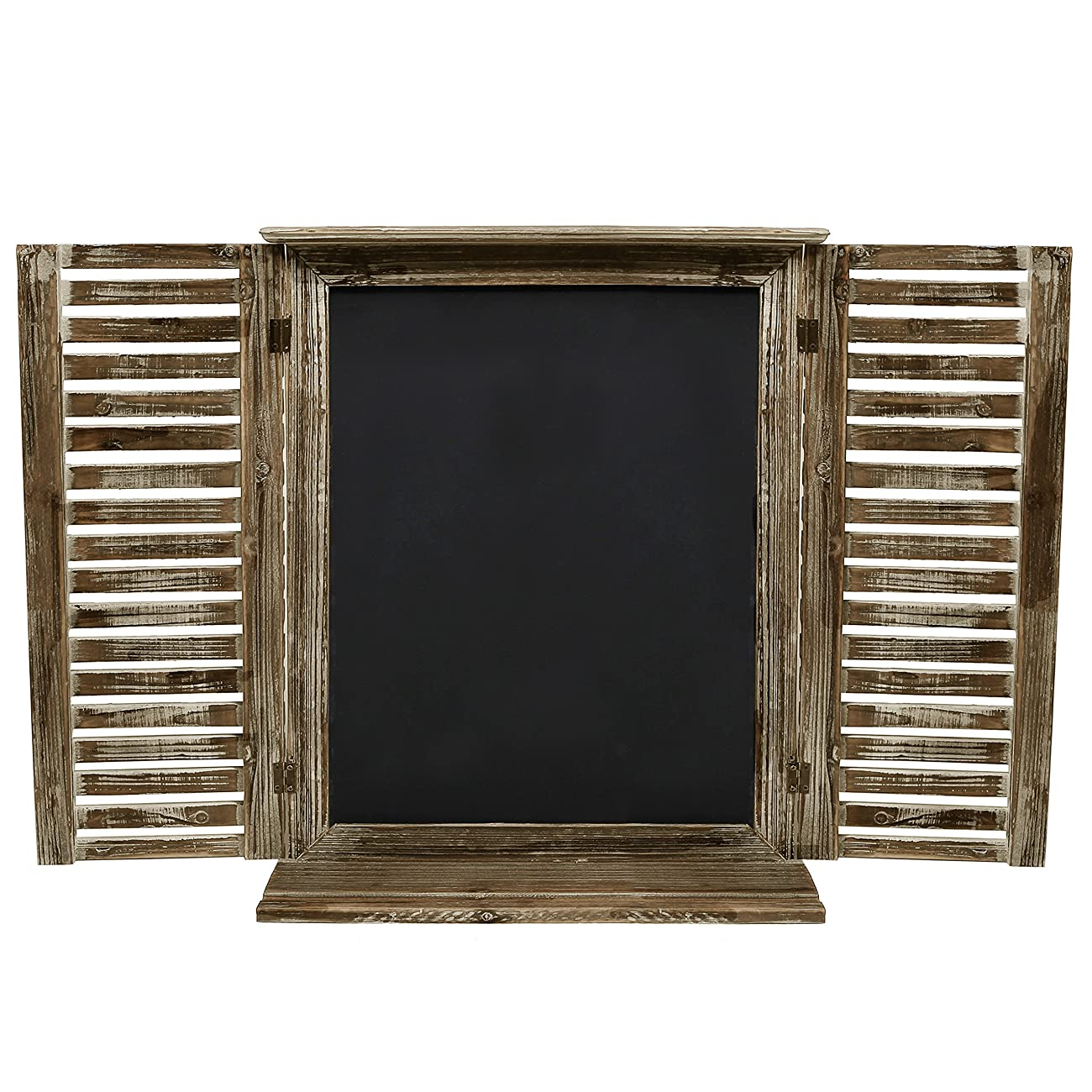 MyGift Rustic Standing Chalkboard with Folding Shutter Doors, Torched Wood Finish 2