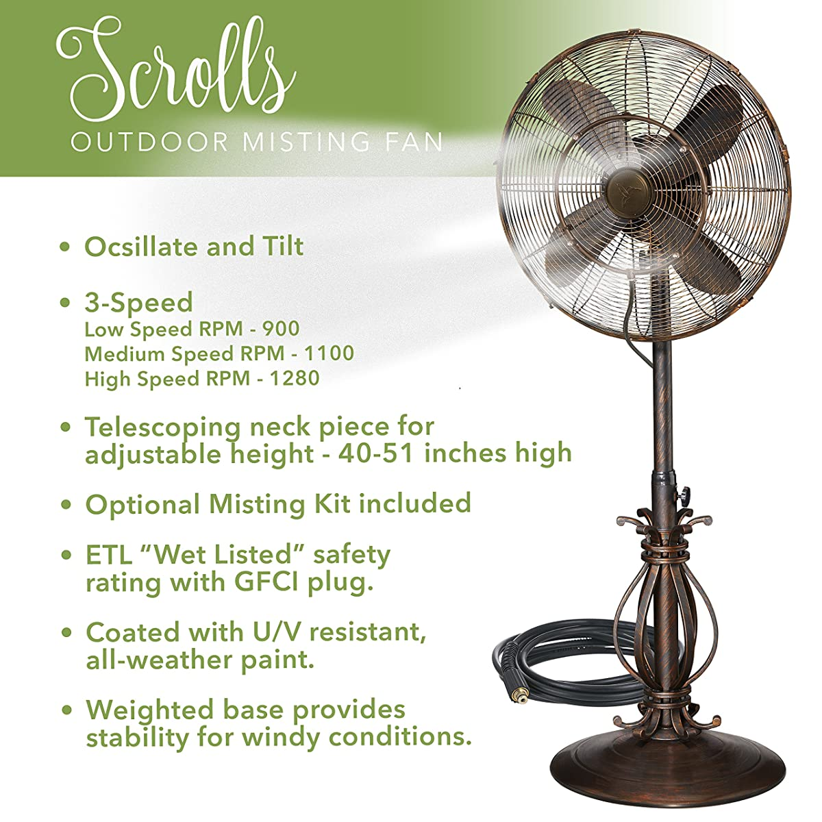Indoor / Outdoor Misting Floor Standing Pedestal 18 Fan - Gentle Misting Action Keeps You Cool All Summer Long (Scrolls)