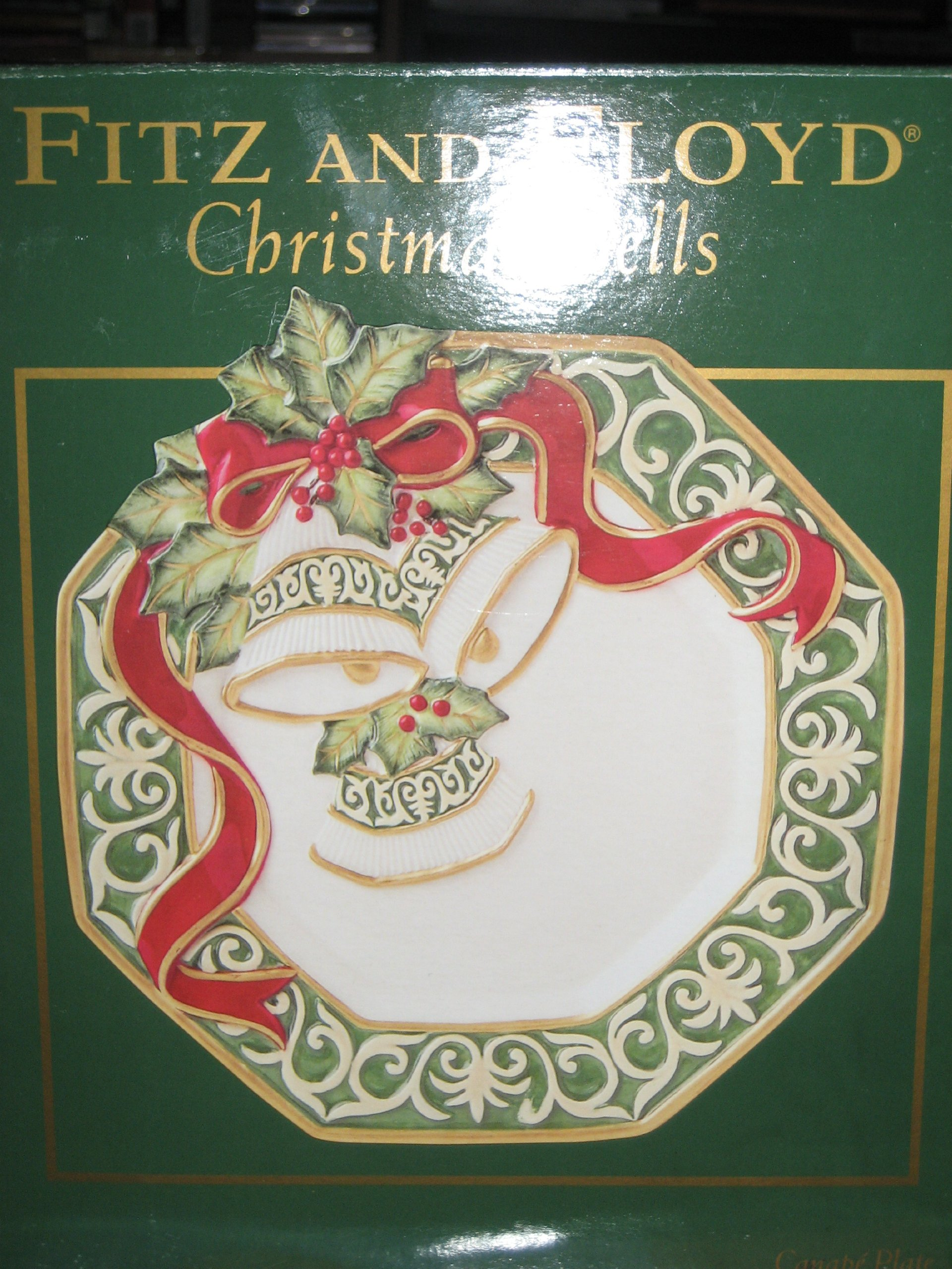 Fitz and floyd christmas bells snack canape plate ebay for Fitz and floyd canape plate