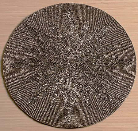 Silver and Gray Glass Beaded Sunburst Hand Crafted Charger Placemats by KINDWER