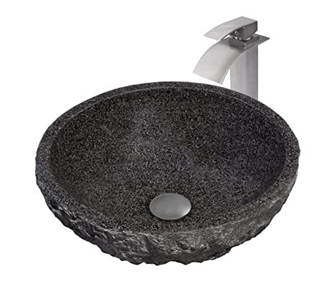 Novatto Absolute Natural Granite Stone Vessel Sink Set, Brushed Nickel