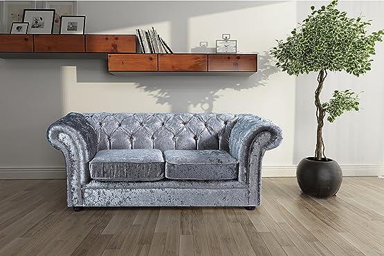 Lovesofas Jackson Chesterfield 2posti in velluto divano–argento