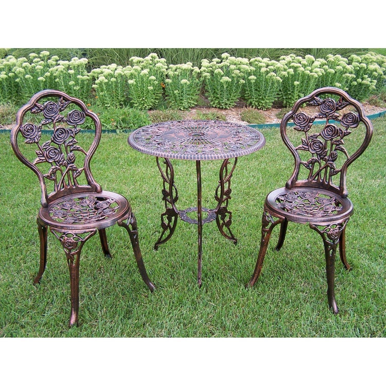 3 piece iron bistro set patio furniture rose table 2