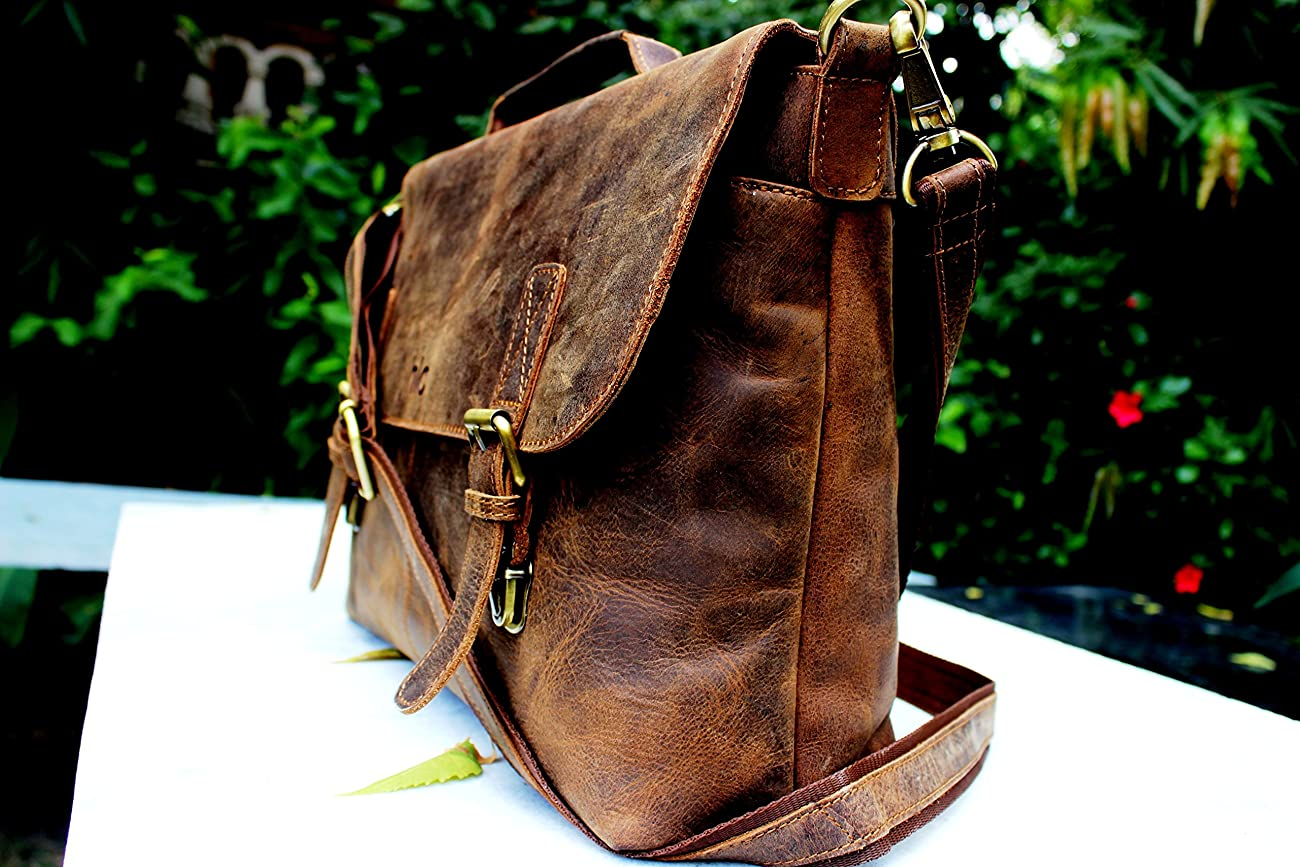 Handolederco Rustic Buffalo Hide Leather Messenger Laptop Shoulder Bag for Men and Women 3