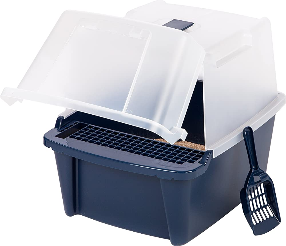 Iris Hooded Cat Litter Box With Scoop And Grate Navy