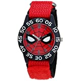 MARVEL Boys Spider-Man Analog-Quartz Watch with Nylon Strap, red, 16 (Model: WMA000186) (Color: Black)