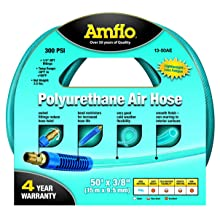 "Amflo 13-50AE Blue 300 PSI Polyurethane Air Hose 3/8"" x 50' With 1/4"" MNPT Swivel Ends And Bend Restrictor Fittings"