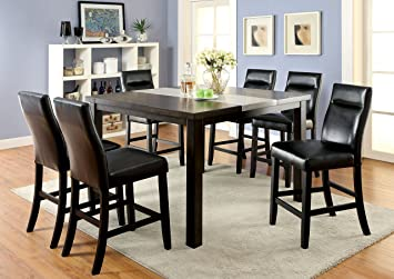 Furniture of America Domoni 7-Piece Industrial Style Pub Dining Set