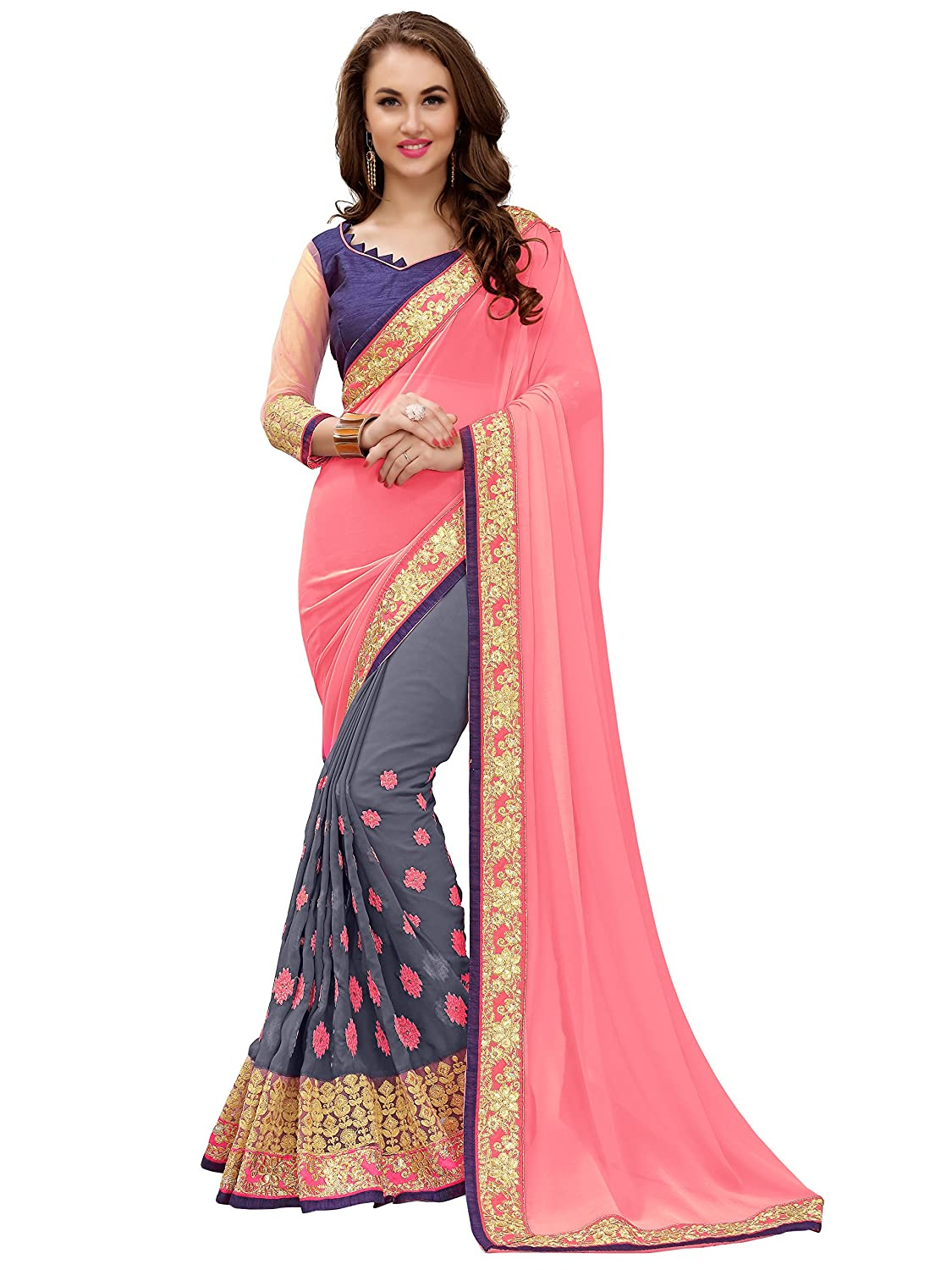 Panchratna Women's Georgette Half and Half Saree with blouse piece