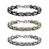 Jstyle 3Pcs 8MM Stainless Steel Byzantine Bracelet for Men Link Chain Bracelet Set 8
