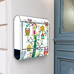 Design Briefkasten Edelstahl Briefkästen 38x42x11 von banjado mit Motiv Eulenfamilie   Kundenbewertung und weitere Informationen