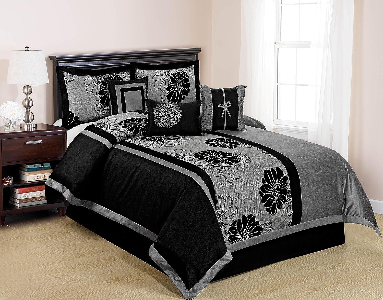 7 Piece Black Autumn Mega Floral Grey/Black Comforter Sets Queen