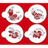 Designer Stencils C374 Fruit Toppers Cake Stencils, (Apple, Blueberry, Cherry, Strawberry), Beige/semi-transparent