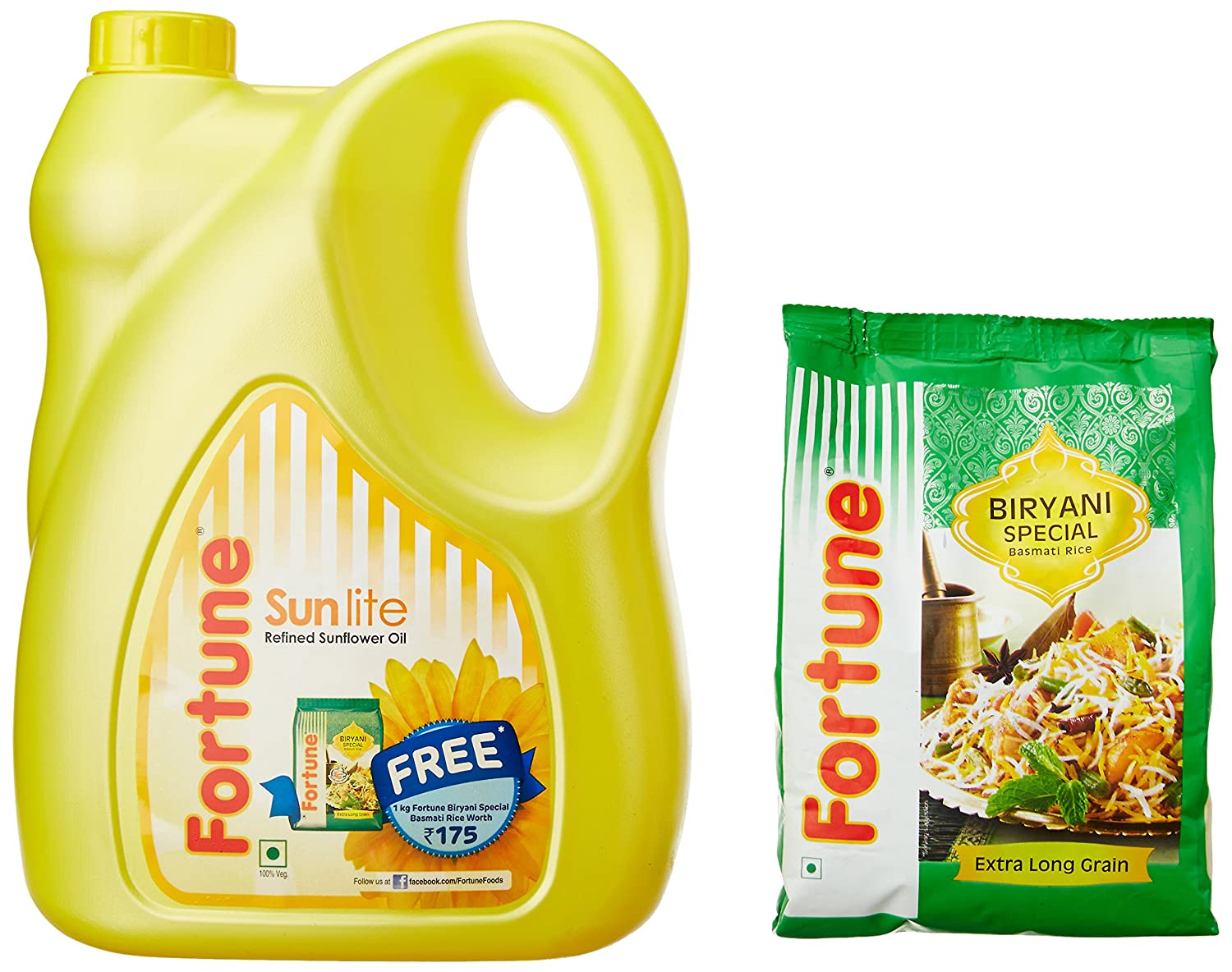 Free 1kg Fortune  Basmati Rice with Fortune Sunlite Refined Sunflower Oil