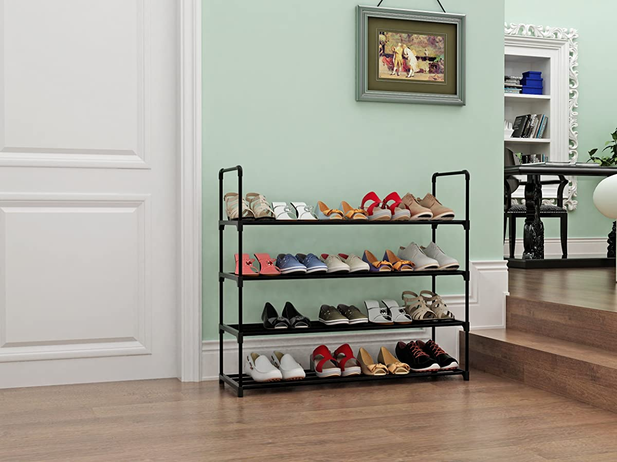 """Home-Like 4 Tier Shoe Rack Stackable Shoe Shelf Shoe Storage Organiser Customized and DIY Metal Storage Rack for 20 Pairs of Shoes ,35.6""""W x 12"""" D x 33.2""""H (Black)"""