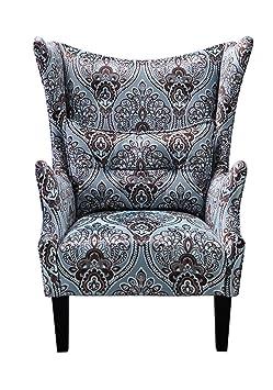 """Sit-Möbel 6008-13 orejas sillón """"SIT4Sofa"""", 80 x 90 x 105 cm, de pino y tablero DM, funda Azul claro estampado, piernas del marrón oscuro"""