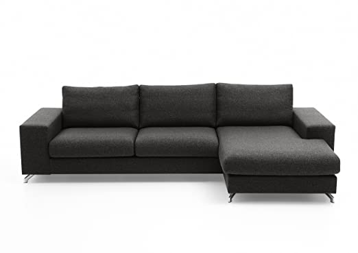 Atlantic Home Collection ALICANTE3D-R02 Sofa, Polstereckgarnitur Ecksofa, Stoff, anthrazit, 150 x 296 x 81 cm