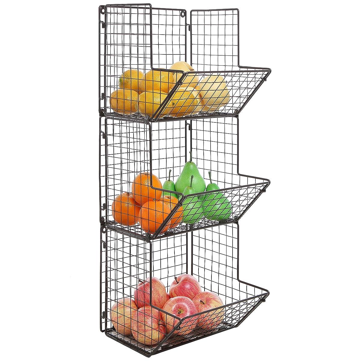 Rustic Brown Metal Wire 3 Tier Wall Mounted Kitchen Fruit Produce Bin Rack / Bathroom Towel Baskets