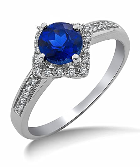 Miore 9ct White Gold Created Sapphire and Diamond Ring SA9026R