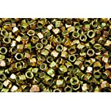 (300) Nyloc Grade 8/C Hex Locking Nuts 3/8-24 Yellow Zinc Plated Nylock