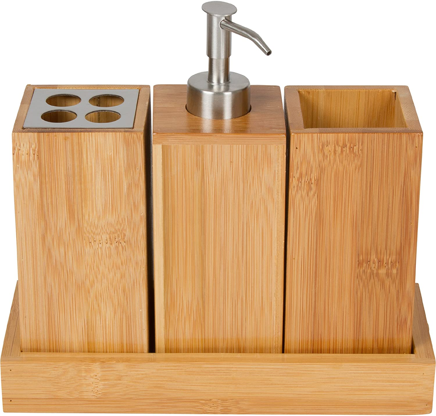Toothbrush holder soap dispenser caddy bamboo trio set for Bathroom soap dispensers bath accessories