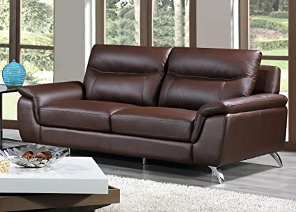 Cortesi Home Chicago Genuine Leather Sofa, 3 Seater Brown