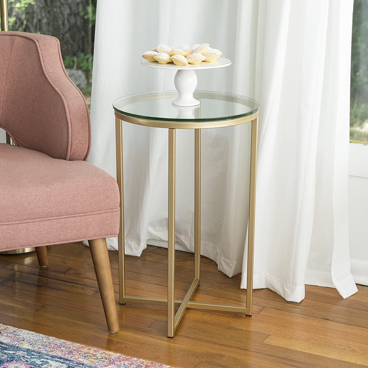 """WE Furniture 16"""" Round Side Table - Glass/Gold"""