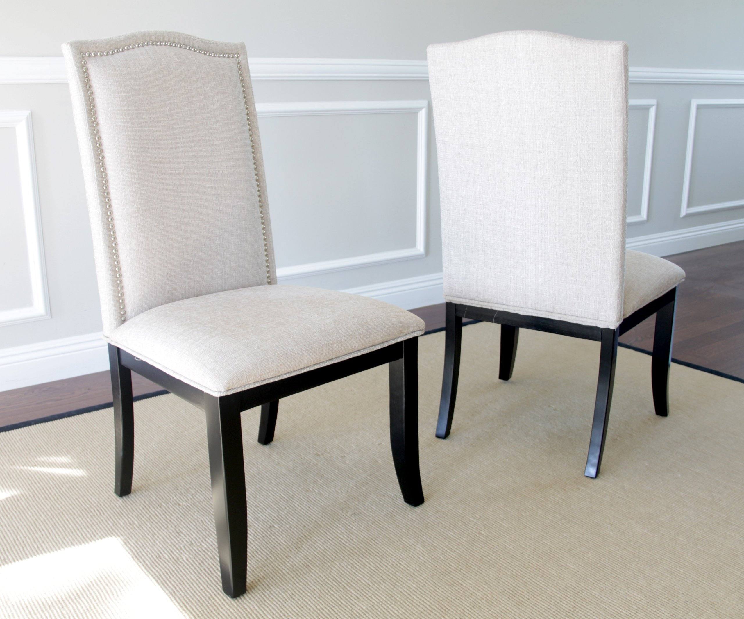Incroyable Set Of 2 Upholstered Beige Fabric Dining Chairs With Nailhead Trim