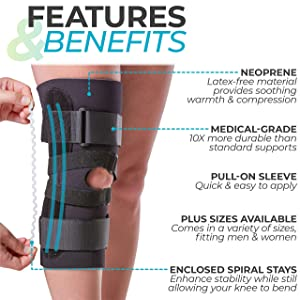BraceAbility J Patella Knee Brace - Lateral Patellar Stabilizer with Medial and J-LAT Support Straps for Dislocation, Subluxation, Patellofemoral Pain, Left or Right Kneecap Tracking (4XL) (Color: Black, Tamaño: 4X-Large)