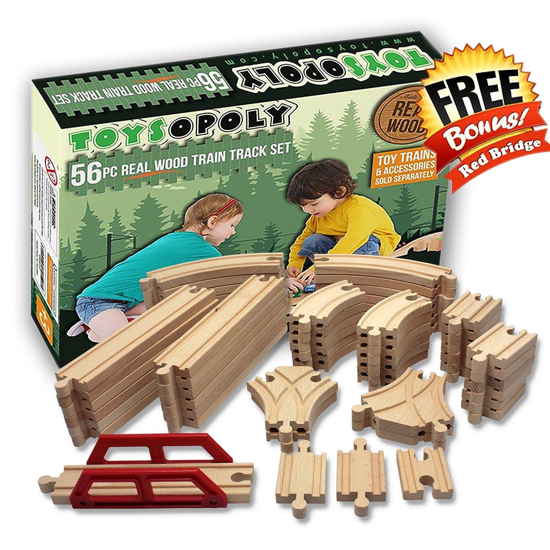 toysopoly 56 pc wooden train set reg. Black Bedroom Furniture Sets. Home Design Ideas