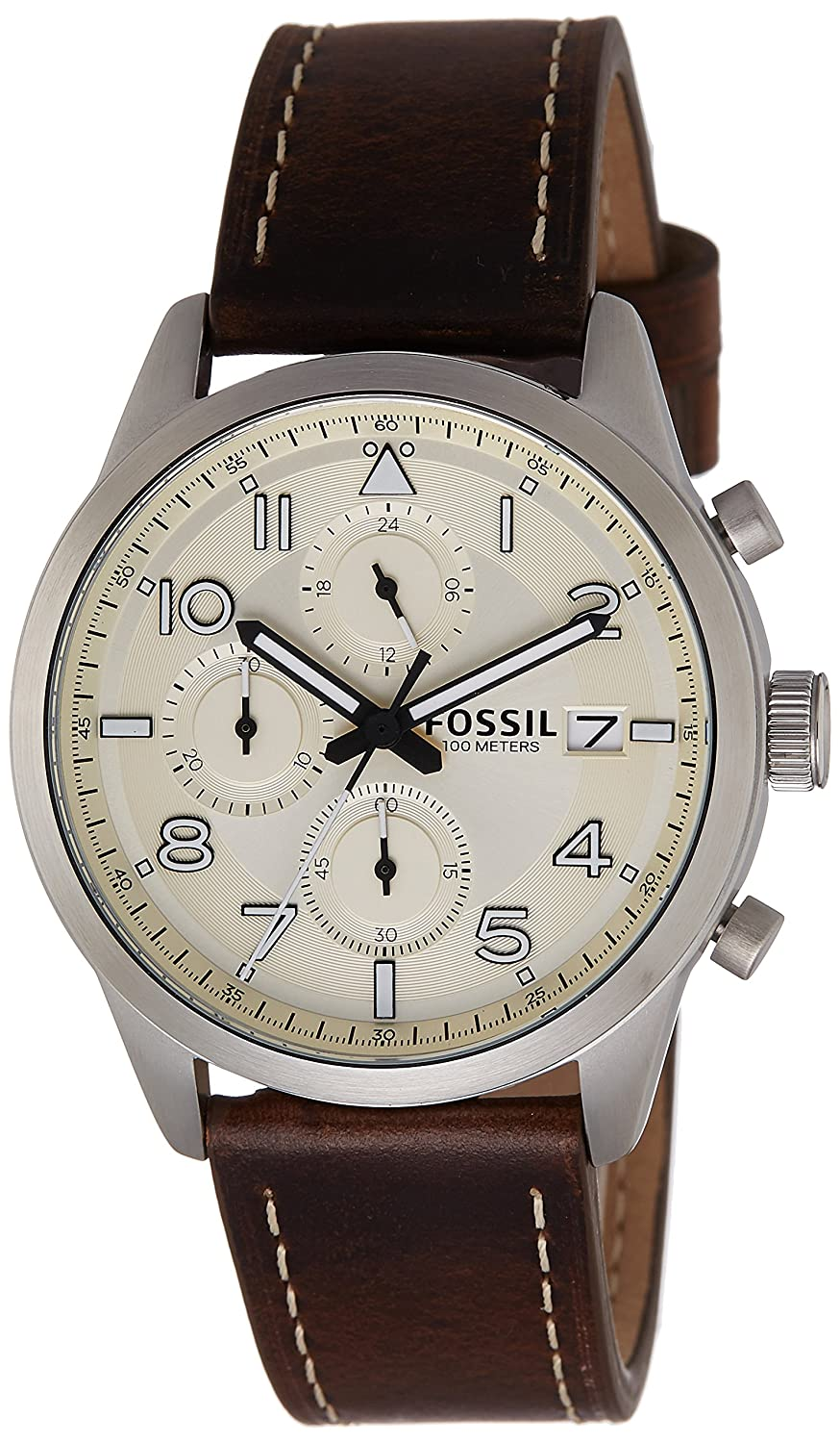 Fossil End-of-Season Chronograph Off-White Dial Mens Watch - FS5138