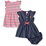 U.S. Polo Assn. Baby Girls' 2 Pack Dress, Neon Coral, 24M (Color: Neon Coral, Tamaño: 24 Months)