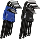EPAuto Long Arm Ball End Hex Key Allen Wrench Set, Inch/Metric, 26-Piece